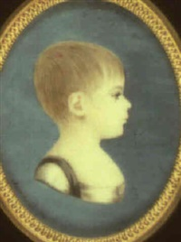 portrait of a young girl in profile to the right by peter ernst rockstuhl