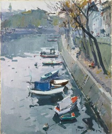 bord de seine les barques quai danjou xvii by paul jean anderbouhr