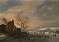 a winter lancscape with skaters on a frozen river by robert van den hoecke