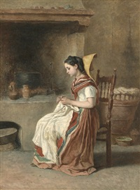 a girl sewing in the kitchen by théodore valerio