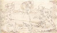 un paysan labourant, trois autres ramassant du blé by ercole setti