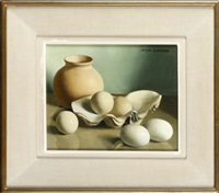 still life of a vase, oyster shells and eggs by jacques blanchard