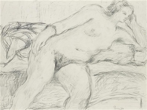 reclining nude study by larry rivers