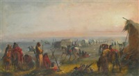 departure of the caravan at sunrise by alfred jacob miller
