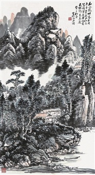 山水 立轴 设色纸本 ( landscape) by huang binhong