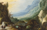 mountainous landscape with a bridge across a river by joos de momper the younger and jan brueghel the elder