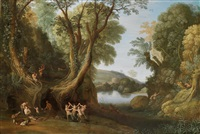 waldlandschaft mit faunen by paul bril