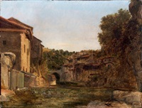 vue d'une partie de la ville de thiers (auvergne) by prosper georges antoine marilhat