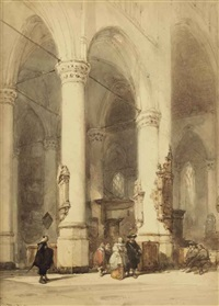 interior of the hooglandsche kerk, leiden by johannes bosboom