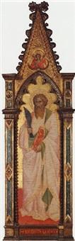 saint bartholomew; an angel in the trefoil above by agnolo di taddeo gaddi