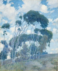 windswept trees, laguna, eucalyptus trees by guy rose