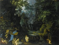a forest landscape with bathing nymphs and leda and the swan by roelandt savery