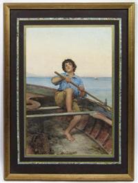 boy rowing boat by g. pompiani battaglia