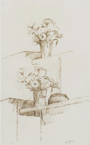 flowers on a mantelpiece by william coldstream