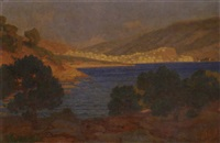sunset at poros by nicholaos othoneos