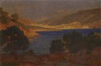 sunset at poros by nicholaos othoneos
