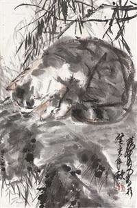 猫趣图 立轴 设色纸本 ( cat) by huang zhou