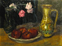 still life with apples and cups by dan ialomiteanu