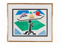 apples, grapes, lemon (on 2 joined sheets) by david hockney