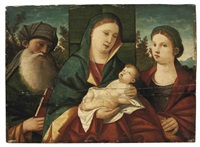 the madonna and child with saint anthony abbot and saint catherine, in a landscape by giovanni bellini