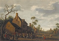 peasants making merry outside an inn by joost cornelisz droochsloot