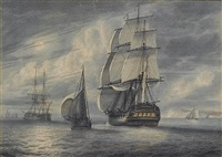 a frigate running down the channel past a cutter, with other ships of the fleet at anchor ahead of her by samuel atkins