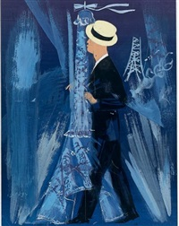 maurice chevalier enlaçant et embrassant la tour eiffel by james rassiat