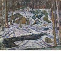 rocks in snow by charles salis kaelin