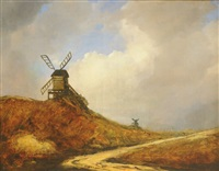 moulins dans un paysage by georges michel