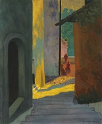 vieille rue de cagnes, soleil couchant by félix edouard vallotton