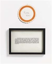 untitled conversation - fuck you (diptych) by joseph grigely