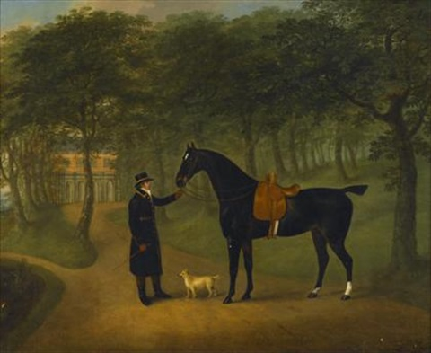 a saddled horse with groom outside a country house by john nost sartorius