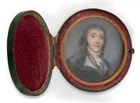 portrait d'un conventionnel en redingote grise, un foulard bleu et rouge autour du cou by thouesny