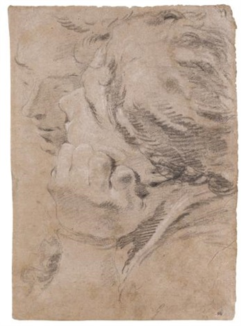 a study of two male heads head of a young man rectoverso by giovanni battista tiepolo