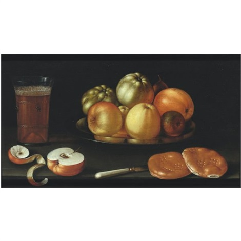 still life with apples and other fruit on a tazza together with a glass of beer a partly peeled apple a knife and two bread rolls by cornelis jacobsz delff