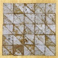 50 triangles forming a square (in 50 parts) by carl andre