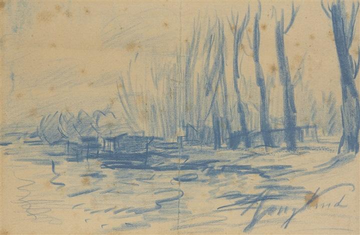 paysage on 2 sheets by johan barthold jongkind