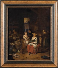 intérieur de cuisine animé by jan baptist lambrechts