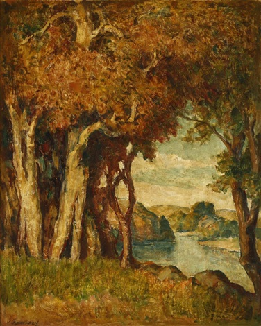 sycamores near a stream by mischa askenazy