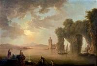 rivage de la méditerranée avec des ruines antiques et une tour à gauche, et à droite derrière un voilier un château à deux tours by carlo bonavia