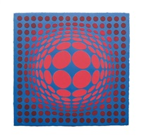 sinlag ii - blue with red and green by victor vasarely