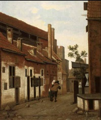 view of a small street of in a dutch town by jacobus vrel