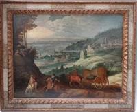 paysage avec mercure et argus et des cavaliers (collab. w/studio of sebastian vrancx) by joos de momper the younger