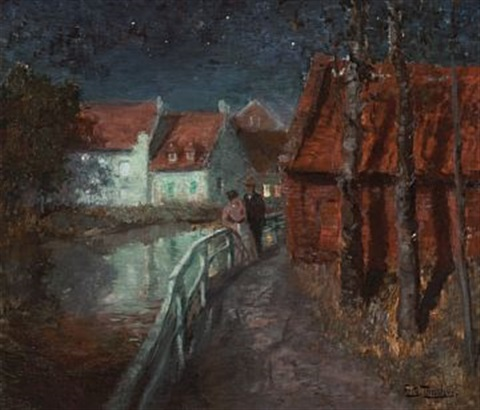aftenstemning i frankrike by frits thaulow