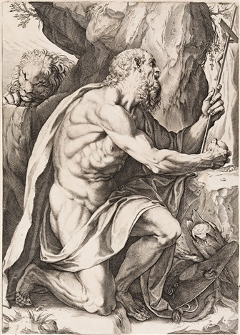 The last sacrament of Saint Jerome. Drawing by F