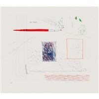 etching is the sunject, pl.14 from the blue guitar by david hockney
