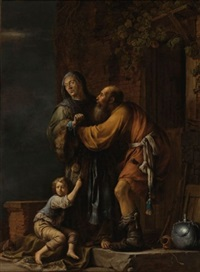abraham pleading with sarah on behalf of hagar by willem bartsius