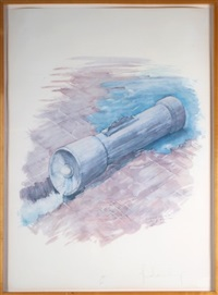 colored flashlight in place of hoover dam by claes oldenburg