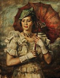 portrait de femme à l'ombrelle by romain kramstyk
