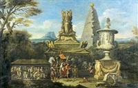 alexandre le grand faisant des libations devant la tombe d'achille et le trophée de marius by alessandro salucci